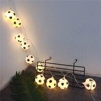 Tira de luces LED para fútbol, Bombilla de bola de fútbol de 5V, con USB/batería, guirnalda de luces de hadas de 1,5 m, 3m, 6m, decoración del Fiesta Temática del hogar