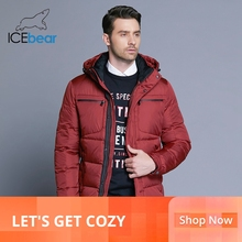 Icebear Warm Jackets Parka Waterproof Mens Winter Simple High-Quality Solid Zipper Hem