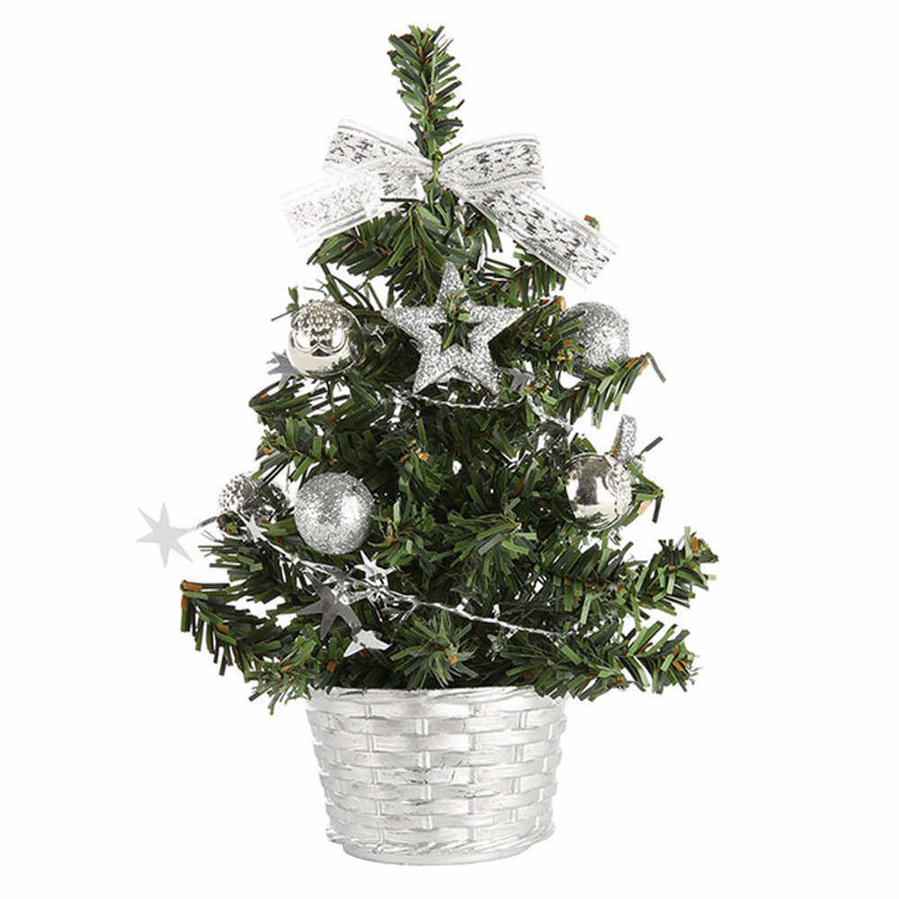 20cm Mini Christmas Tree Xmas Artificial Tabletop Decorations Festival Miniature Tree Home Room Desktop Ornaments Children Gifts