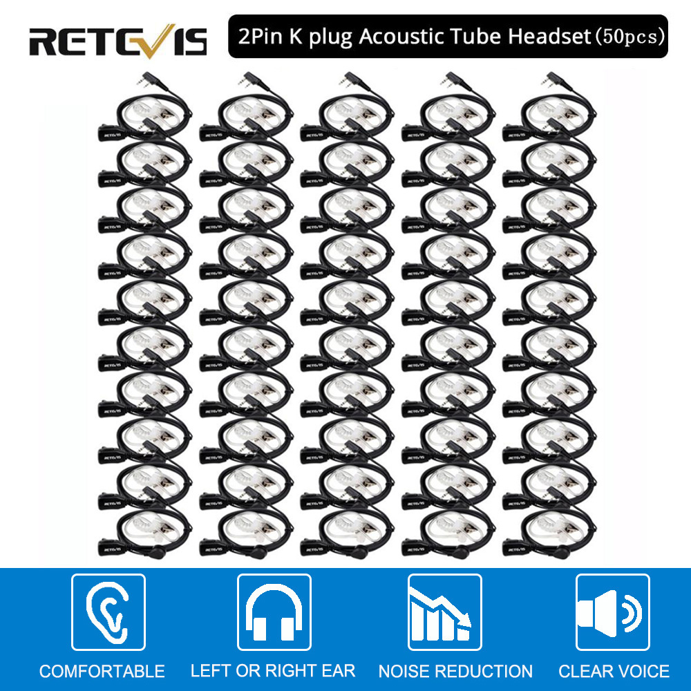50pcs Retevis PTT Mic Air Acoustic Tube Earpiece Walkie Talkie Headset For Kenwood Baofeng UV-5R Retevis H777 RT22 RT80 C9003A