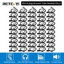 50pcs Retevis PTT Mic Air Acoustic Tube Earpiece Walkie Talkie Headset For Kenwood Baofeng UV 5R Retevis H777 RT22 RT80 C9003A