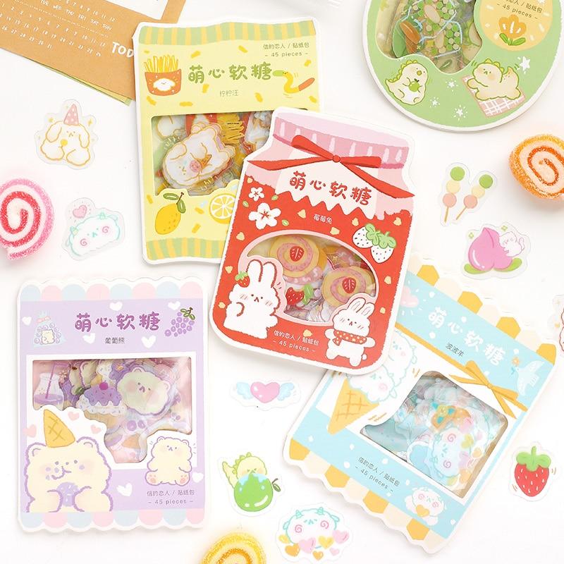 Yoofun 45pcs PVC Kawaii Cute Stickers Korean Stationery Cartoon stickers Bullet Journaling decoration Diary Album Stickers