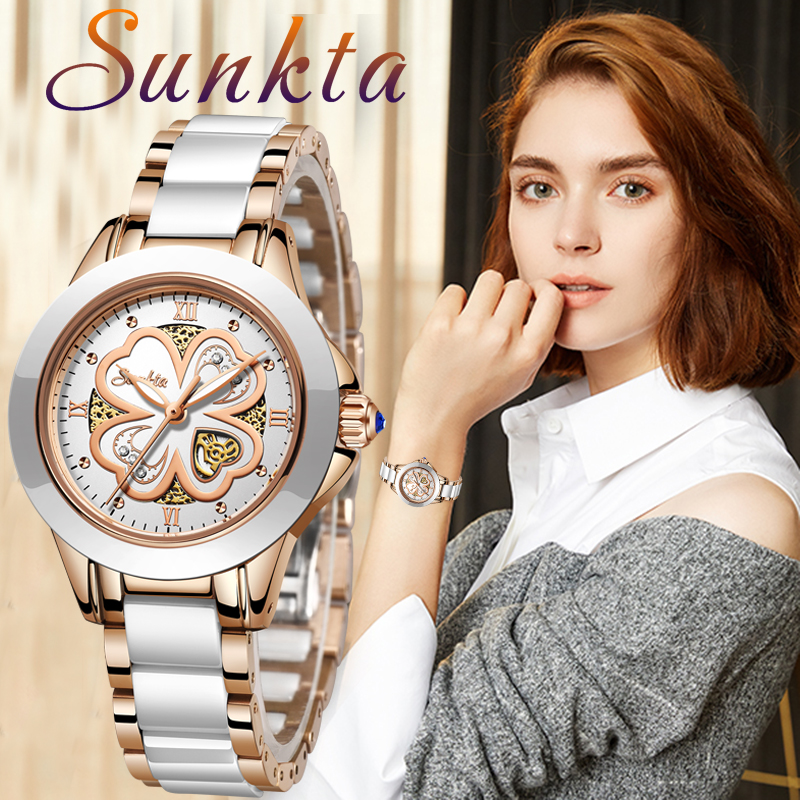 SUNKTA Quartz Women Watches Fashion Waterproof Watches Women Ceramic Bracelet Wristband Watch Girl Clock Relogio Feminino+Bo