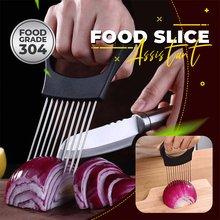 Asistente de corte de alimentos, soporte para vegetales, cortador de cebolla de acero inoxidable, cortador de cebolla, fruta, verdura, rebanador, cúter de tomate