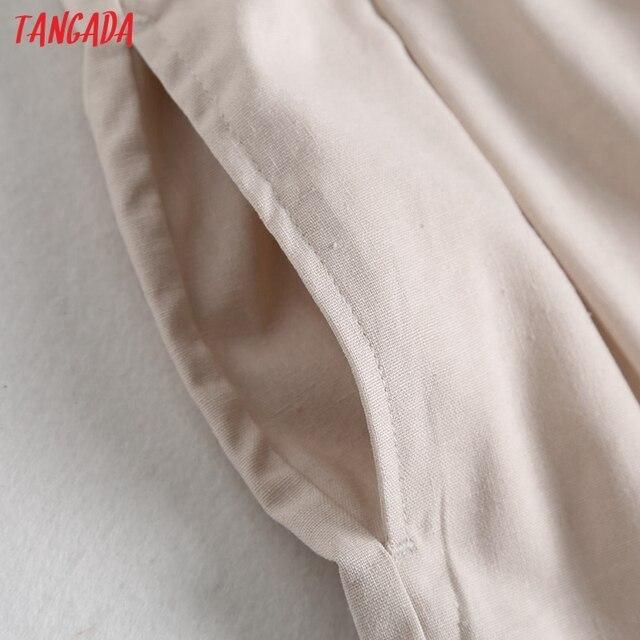 Tangada 2021 Summer Women Vintage Cotton Linen Shorts with Slash Pockets Female Retro Casual Shorts Pantalones 2E18 4