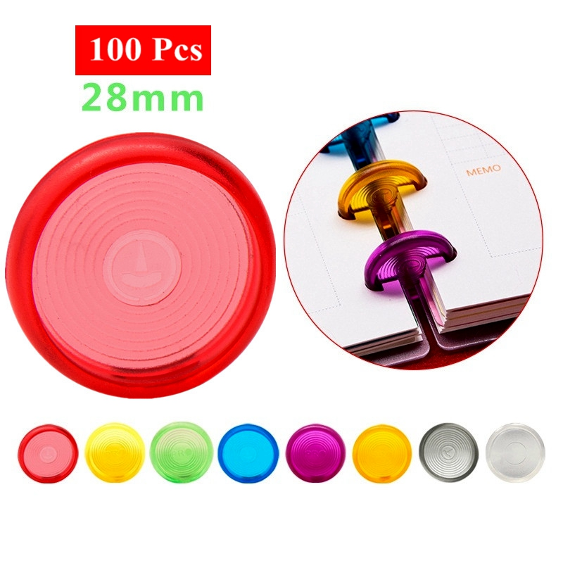 100Pcs 28mm Mushroom Hole Disc Binders For Notebooks/Planner Diy Colorful Loose Leaf  Binding Rings Discbound Discs CX19-004