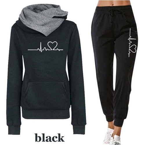 Women Tracksuit Pullovers Hoodies and Black Pants Autumn Winter Suit Female Solid Color Casual Full Length Trousers Outfits 2021 9