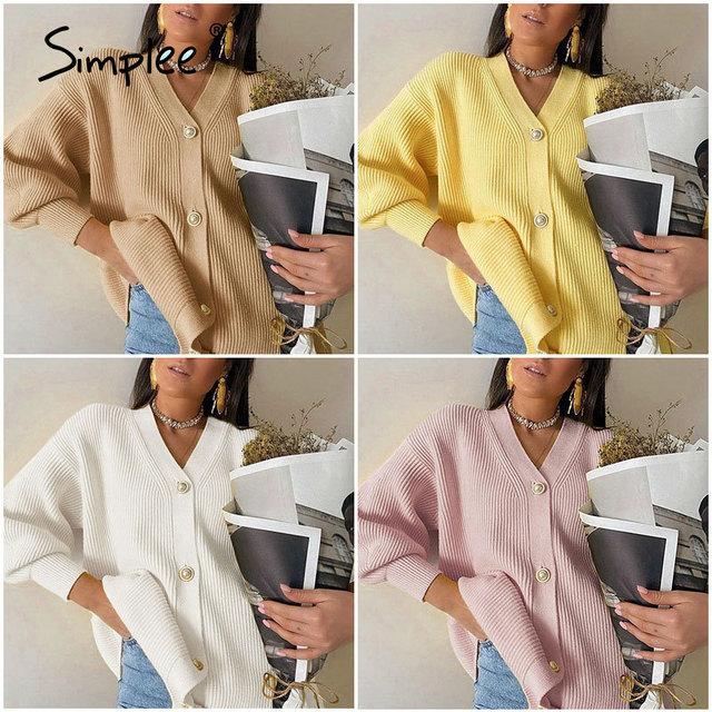Повседневный длинный вязаный  свободный свитер на пуговицах с рукавами-фонариками 6