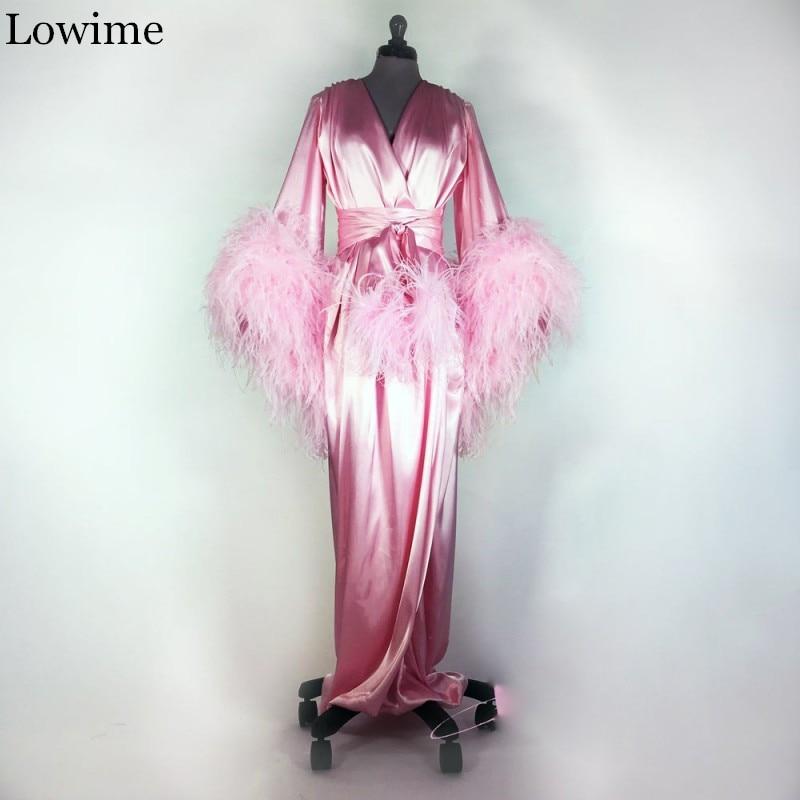 Wholesale Pregnant Pink Muslim Prom Dress Feathers Arabic Dance Party Robe Long Turkish Night Gown Vestidos De Fiesta De Noche