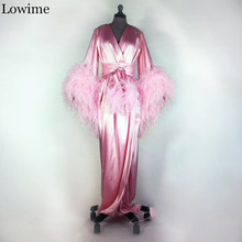 Wholesale Pregnant Pink Muslim Prom Dress Feathers Arabic Da