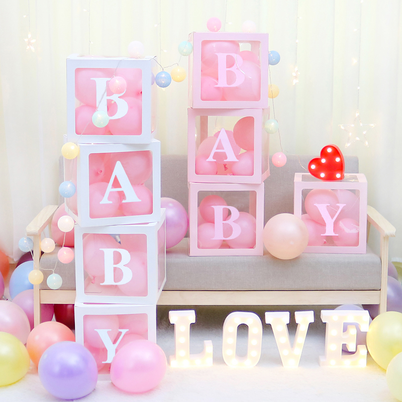 Letter Cube Transparent Gift Boxes Kid Birthday Baby Shower Party Decoration UK