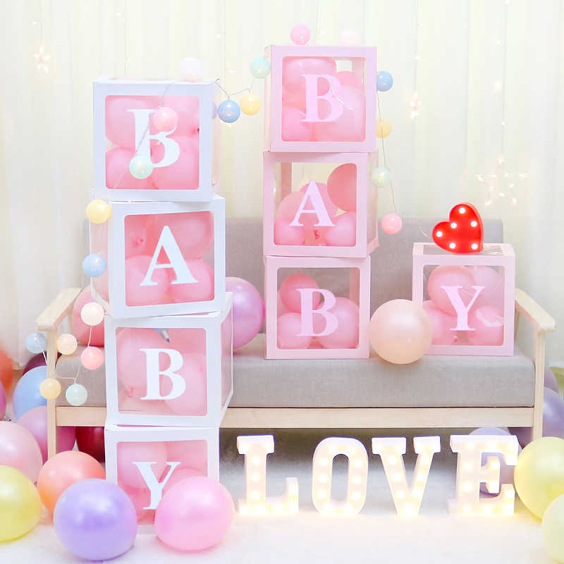 Decoracion De Baby Shower Para Nino Y Nina.Baby Shower Caja Transparente Globos Almacenamiento