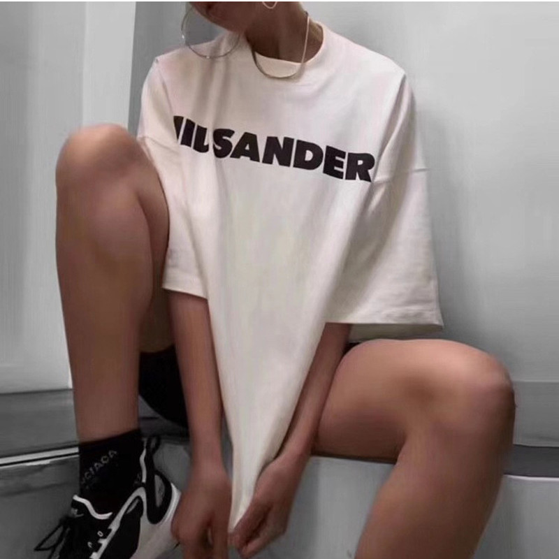 Tees Women Casual T Shirt Print Number Letter T-shirt Oversize White Short Sleeve 100% Cotton Tops 2020 Spring Summer New