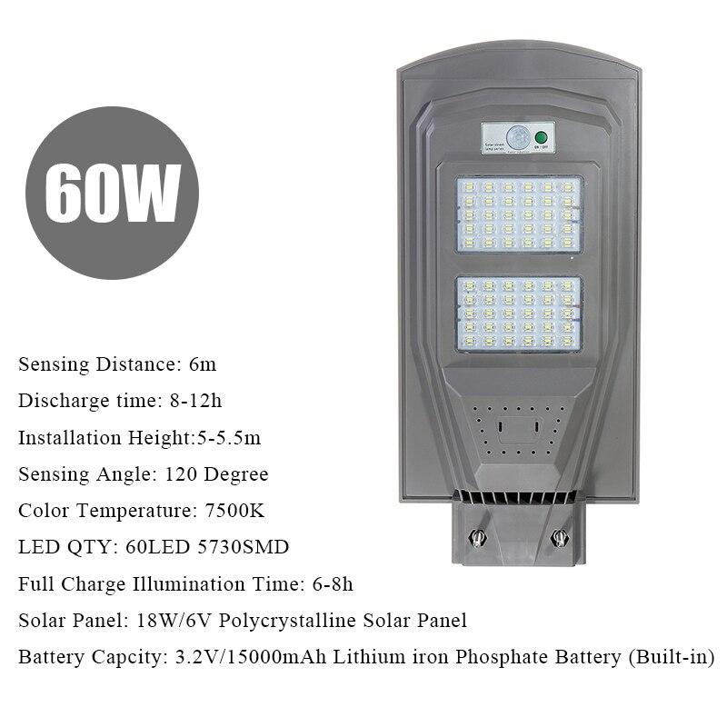 Grau LED Solar Straße Licht PIR Motion Sensor LED Außen Beleuchtung Garten Wand Lampe 30W 60W 90W wasserdicht IP67