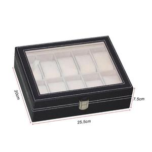 Image 2 - Portable PU Leather Watch Box Durable Black 10/12 Slots Necklace Bracelet Case Organizer Jewelry Display Holder Accessories