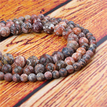 Leopard Skin Natural Stone Bead Round Loose Spaced Beads 15 Inch Strand 4/6/8/10/12mm For Jewelry Making DIY Bracelet