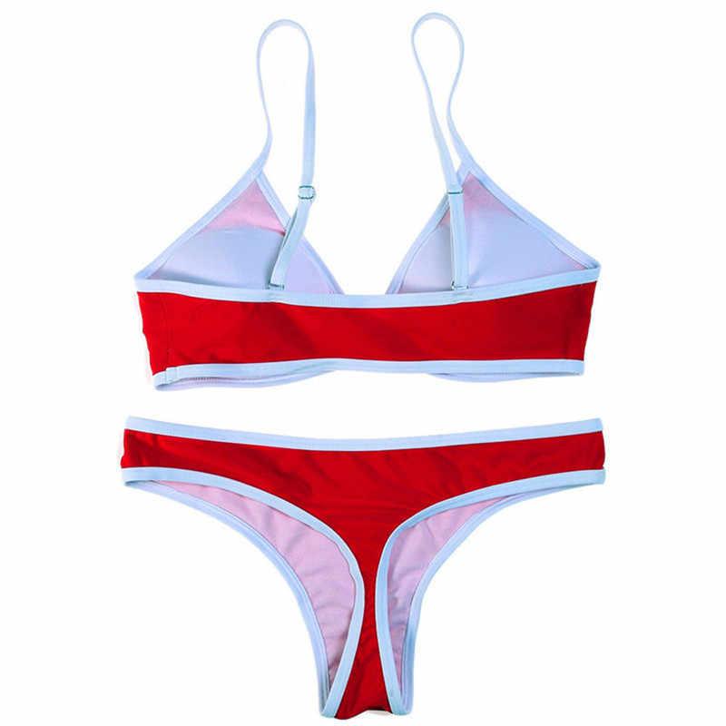 2 ピース水着女性ビキニ水着ビーチストラップレスブラジル水着セクシーな赤 g ストリング tバックビキニブラジャー 2019