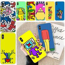 interesting Keith Haring art Soft Silicone Phone Case For iphone 6 6s plus 7 8 plus X XS XR XS MAX 11 11 pro 11 Pro Max Cover coach x keith haring бумажник