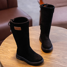 Осень-зима; модная однотонная Уличная обувь из флока для маленьких девочек; детская обувь; Sapato; детские сапоги