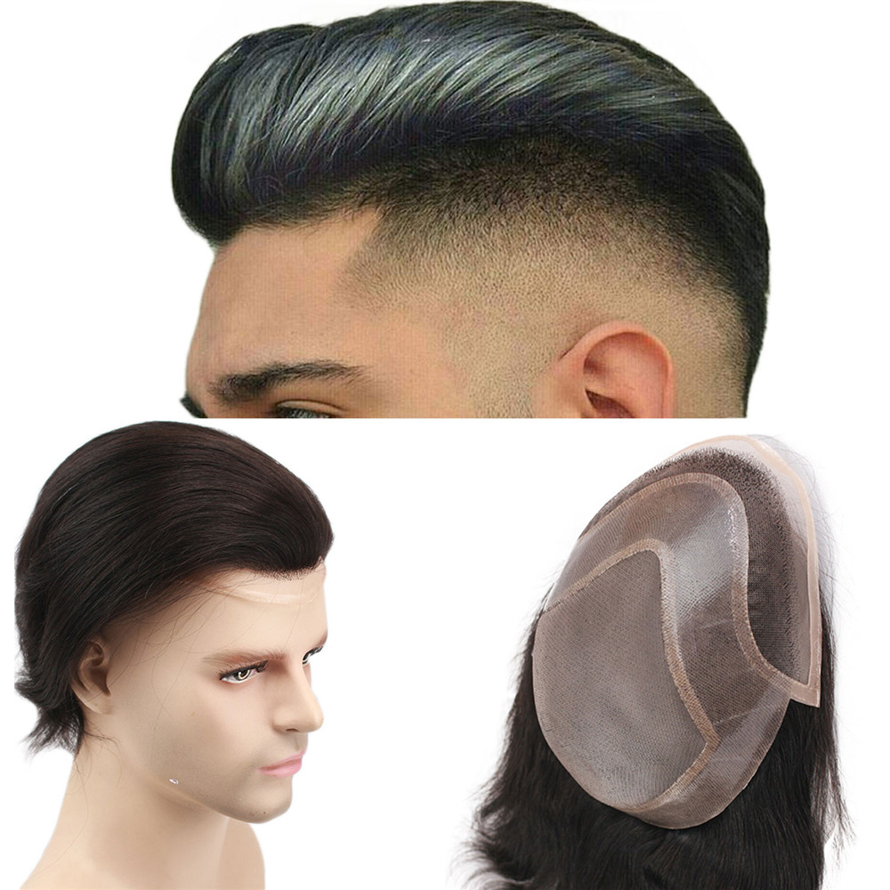 Mens Toupee Hair PU With French Lace Wigs For Men European Remy Human Hair Replacement Systems Hairpiece 10x8inch
