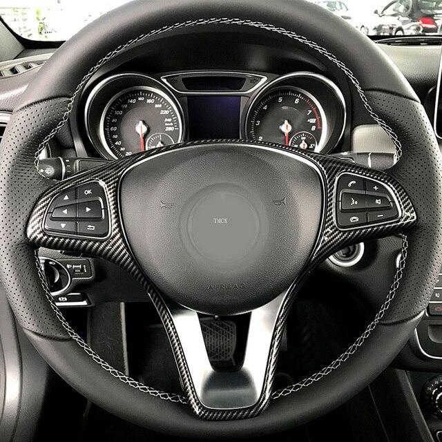 For Mercedes Benz A B C E GLA CLA GLC GLS GLE V Class W176 W246 W205 W213 W117 C117 X156 X253 W447 Car Steering Wheel Frame Trim 5