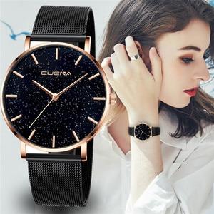 Image 1 - CUENA 高級ファッションカジュアルゴールドシルバー腕時計レディース女性のメッシュ鋼ストラップブランドアナログクォーツダイヤモンド腕時計腕時計
