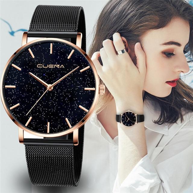 CUENA 高級ファッションカジュアルゴールドシルバー腕時計レディース女性のメッシュ鋼ストラップブランドアナログクォーツダイヤモンド腕時計腕時計