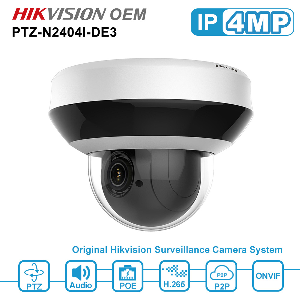 Hikvsion OEM 4MP PTZ POE IP Camera Support 4X Zoom 2-Way Audio CCTV Security Camera ONVIF IP 66 H.265 PTZ-N2404I-DE3