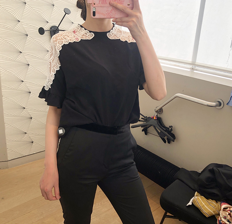 2020 Early Autumn New Women's shirt Hollow lace patchwork Ruffled sleeves fashion ladies office blouse and tops