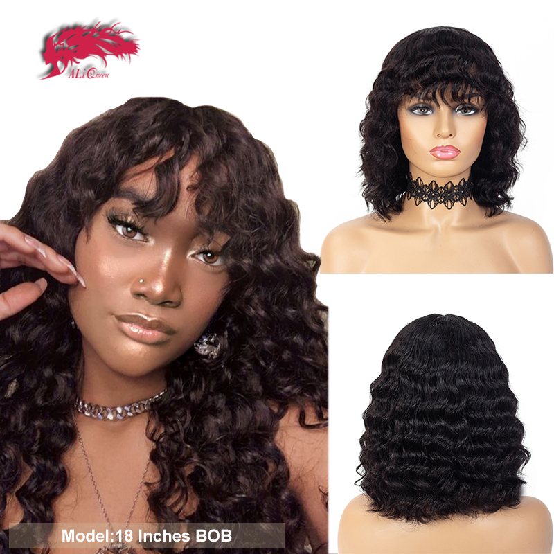 """Loose Wave Short Bob Wigs 12"""" Black Color Ombre 1B/30 Ali Queen Hair Brazilian Remy Human Hair Wig With Bang Full Machine Wig"""