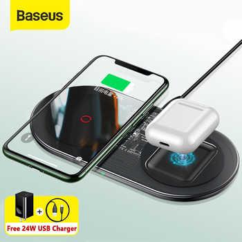 Cargador inalámbrico Baseus 20W rápido Qi para Airpods iPhone 11 Pro, almohadilla de carga inalámbrica Dual para Samsung S20 S10, cargador inalámbrico