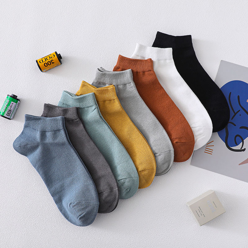 CHAOZHU Men's Solid Colors 100% Cotton Stretch Ankle Socks Spring Summer Fashion Prevent Odor Daily Calcetines Male Boys Sox