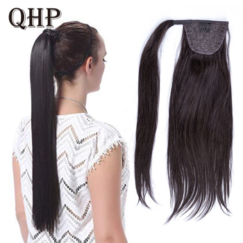 Kucyk ludzki włos Remy prosto europejski kucyk fryzury 60g 100 naturalne włosy dopinki na klips tanie i dobre opinie Proste Remy włosy 60 g sztuka Ciemniejszy kolor tylko 1 sztuka tylko Clip-in Pure color Europejski włosów
