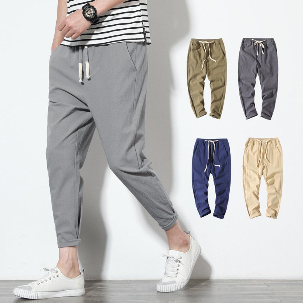 2020 Men's Simple Leisure Mens Cotton Harem Pants Men Casual Solid Color Waist Drawstring Long Trousers Loose Cotton Harem Pants