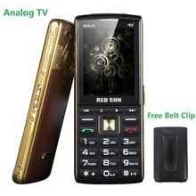 """Большой дисплей 2,"""" аналоговый ТВ-бар тонкий телефон для пожилых 3 Sim волшебный голос SOS быстрый набор двойной фонарик PowerBank бесплатный ремень скольжения"""