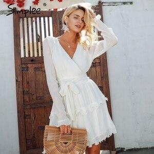 Image 4 - Женское летнее плиссированное платье Simplee, элегантное шифоновое платье с длинным рукавом, повседневное белое платье с v образным вырезом и оборками на лето, 2019