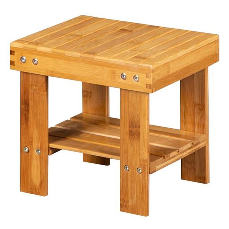 Children Bench Stool Bamboo Wood Living Room Office Footrest Bathroom Bench