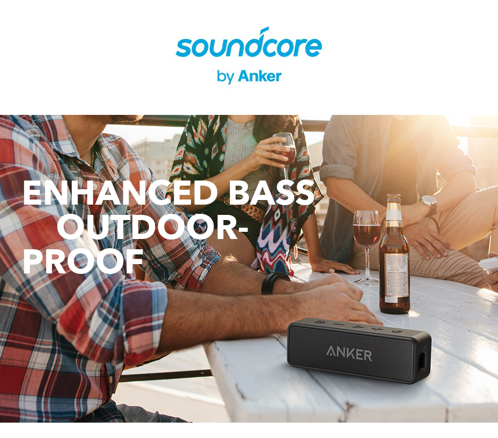 Anker Soundcore 2 Portable Bluetooth Wireless Speaker Better Bass 24-Hour Playtime 66ft Bluetooth Range IPX7 Water Resistance