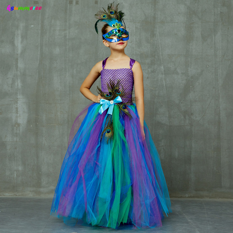 Flower Princess Peacock Costume for Girls Wedding Birthday Party Tutu Dress Kids Pageant Ball Gown Feathers Girl Tulle Dresses 2