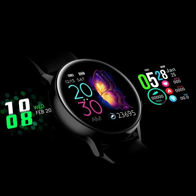 W pełni dotykowy inteligentny zegarek kobiety dla android ios inteligentny zegarek elektronika inteligentny zegar opaska monitorująca aktywność fizyczną Top luksusowa Bluetooth inteligentny zegarek