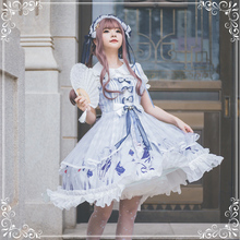 Japanese sweet princess lolita dress vintage lace bowknot cute printing victorian dress kawaii girl gothic lolita jsk loli cos
