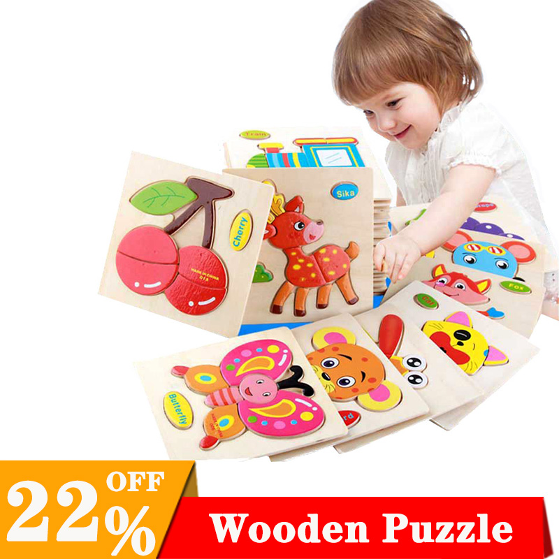 1PC  Baby Toys 3D Wooden Puzzle Cartoon Learning Educational Kids Toy duck