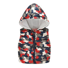 Kids Boys Winter Red Camouflage Waistcoats Girls Autumn Sleeveless Hooded Vests Cartoon Outwear Jackets Children Warm Tops Coats(China)