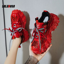 Women Sneakers 2020 New Glitter Red Platform Sneakers Women Shoes Chunky Sneakers Lace Up Designer Dad Sneakers Basket Femme