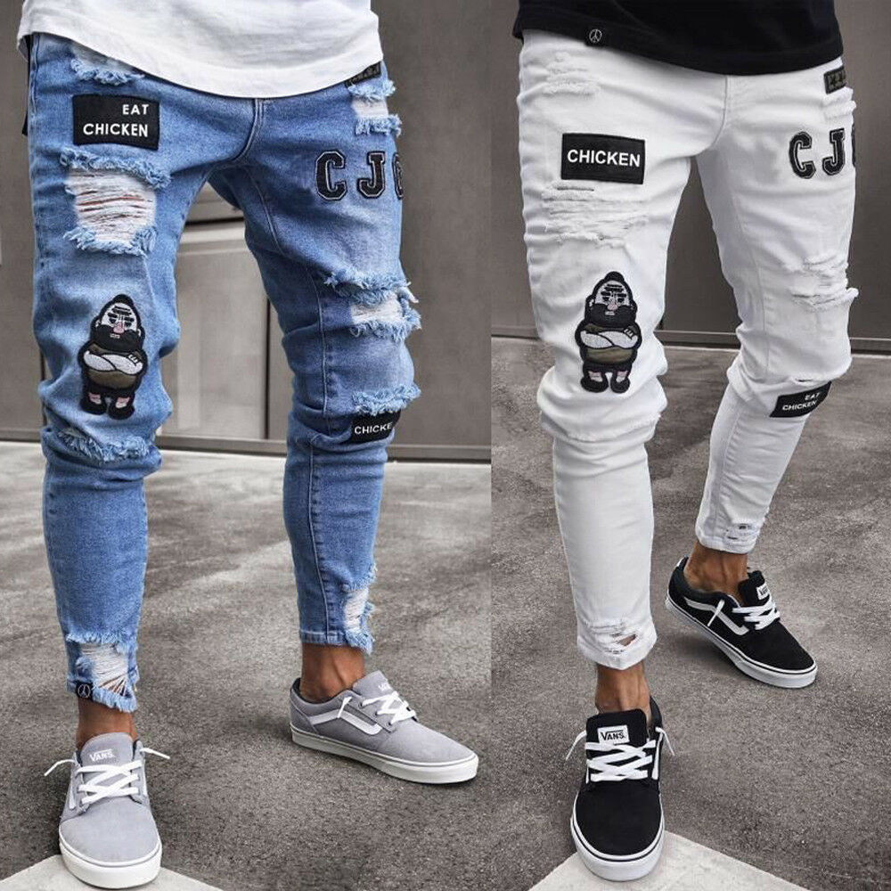 Fashion Men Stretchy Ripped Skinny Biker Hip Hop Jeans Destroyed Taped Patch Slim Pencil Denim Long Pants