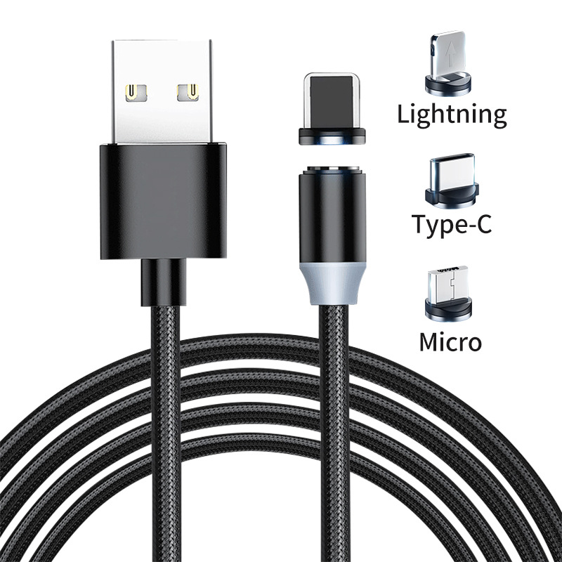 LED Magnetic Micro USB Cable Magnet Plug Type C Charge 3 In 1 Cord For IPhone Huawei Samsung XiaoMi 1m  Phone Cable