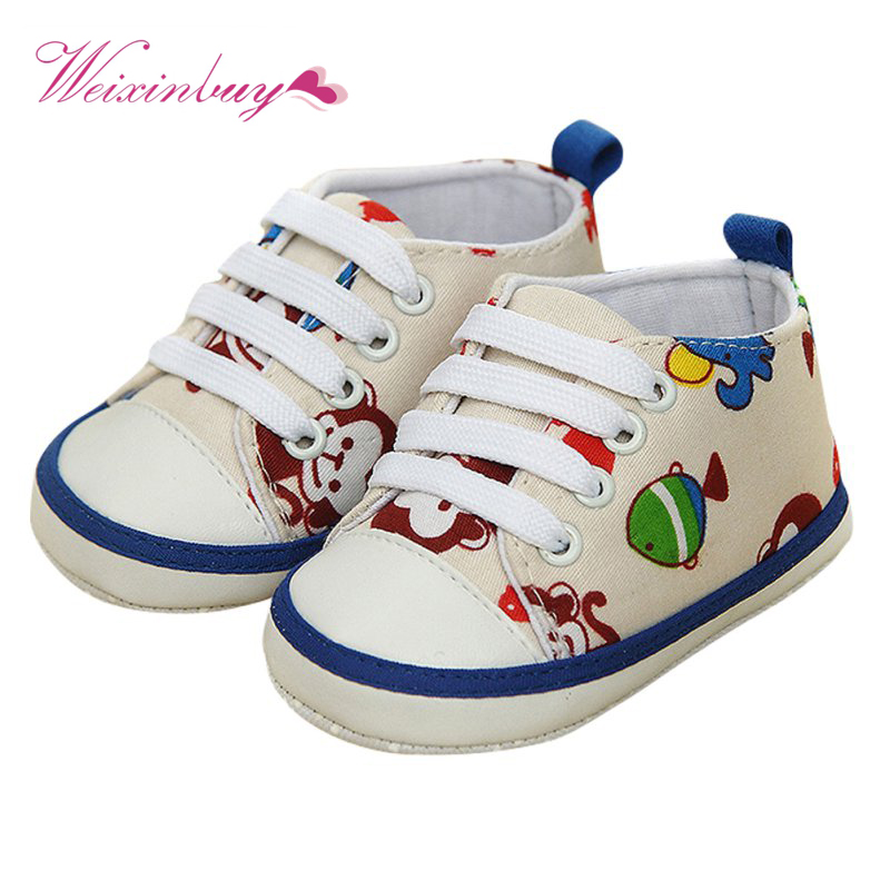 Newborn Baby Boys Girls Cute Animal Lace-Up Comfortable Prewalker Toddler Soft Sole Anti-slip Shoes