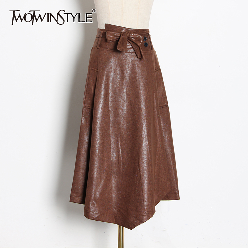 TWOTWINSTYLE Casual Asymmetrical Skirts Female High Waist Lace Up Bow Irregular Ruched Women's Skirt 2020 Fashion Clothing Tide