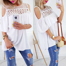 Women Lady O-Neck Vest Summer Loose Hollow Out Chiffon Off Shoulder T-Shirt Tank Tops
