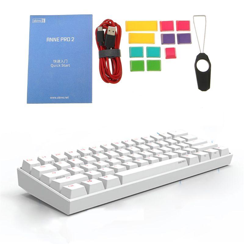 Bluetooth 4.0 type-c RGB 61 touches clavier de jeu mécanique commutateur cerise commutateur Gateron Anne Pro 2 60% NKRO Au21 19 livraison directe